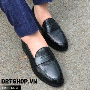 Giày lười da bò dập vân tăm DL3