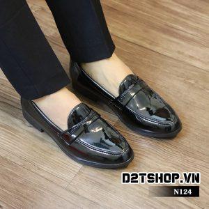 Giày lười nam đơn giản da bóng N124