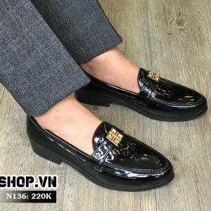 Giày lười nam da bóng kết hợp mặt vuông N55-2