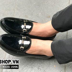 Giày lười nam giá rẻ chất liệu da bóng N123