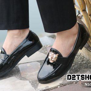 giày lười nam giá rẻ da bóng mặt hổ N55-4