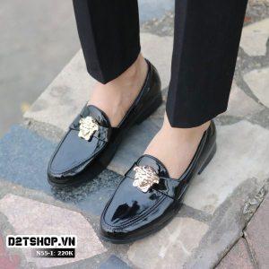Giày lười nam da bóng giá rẻ mặt versace N55-1