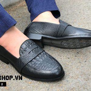 Giày lười nam dập vân cá sấu cao cấp DL02