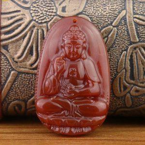Phật Bản Mệnh A Di Đà Đá Mã Não Đỏ MADD1