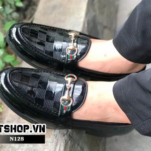 Giày lười nam giá rẻ kẻ caro độc đáo N128