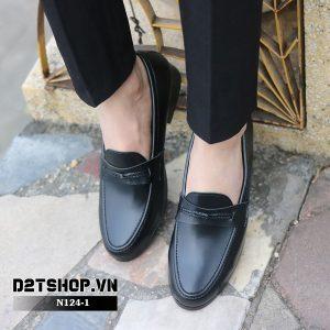 Giày lười nam giá rẻ da lỳ đan dây N124-1 Đen