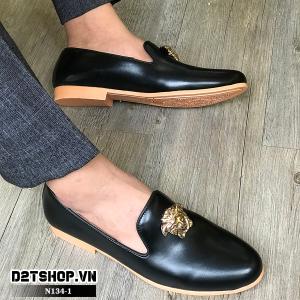 Giày lười nam giá rẻ đế vàng mặt versace N134-1