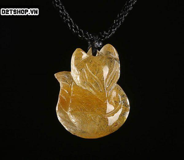 Mặt dây chuyền Hồ Ly đá thạch anh tóc vàng bản to MHL18