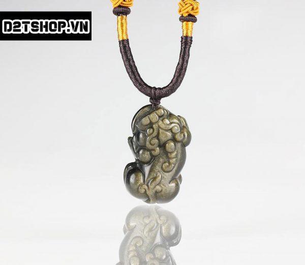 Mặt dây tỳ hưu đá núi lửa Obsidian bản to MTH6