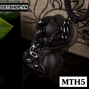 Mặt dây Tỳ Hưu núi lửa OBsidian khói bản to MTH5