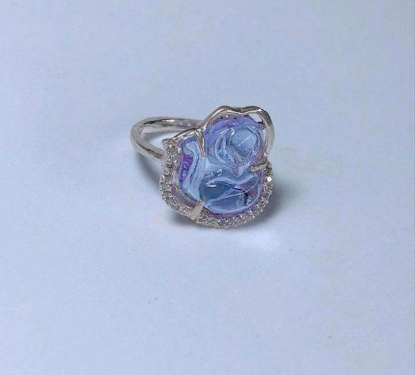 Nhẫn bạc Hồ Ly đá thạch anh màu xanh NHL4