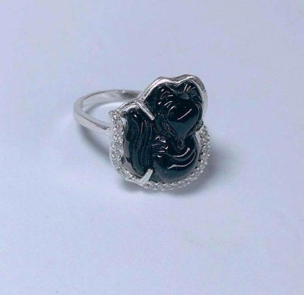 Nhẫn bạc Hồ Ly đá mã não màu đen NHL2