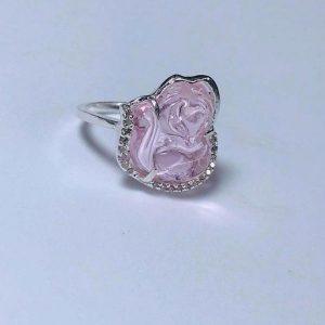 Nhẫn hồ ly bạc đá thạch anh hồng nhl3