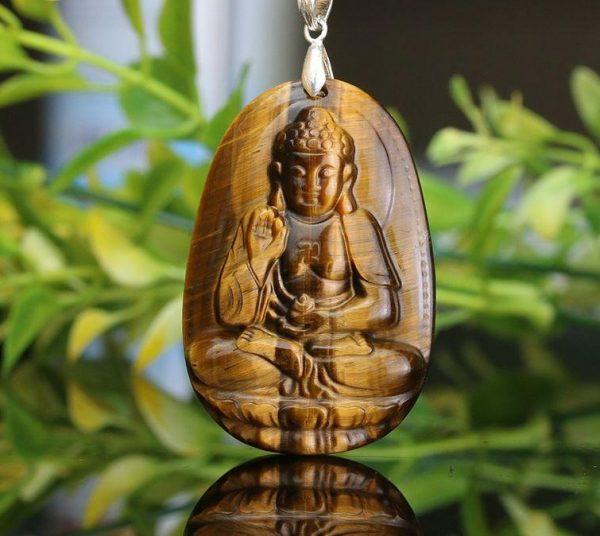 Phật bản mệnh A Di Đà đá mắt hổ nâu vàng to MADD5