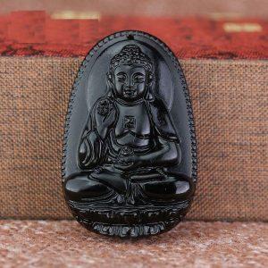 Phật bản mệnh A Di Đà đá núi lửa màu đen bản to MADD6
