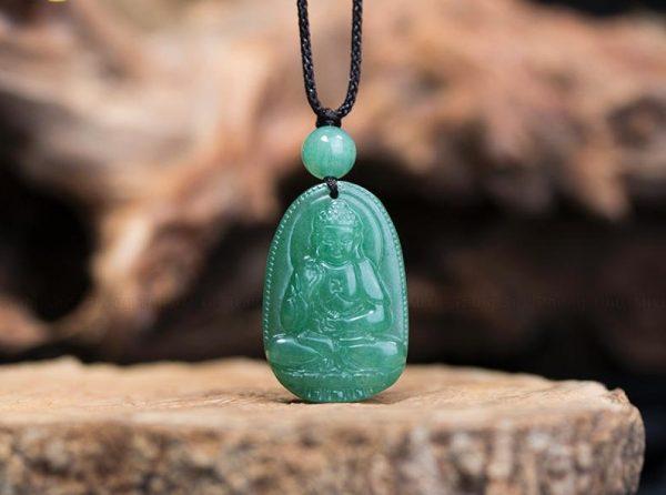 Phật bản mệnh A Di Đà đá thạch anh màu xanh MADD3