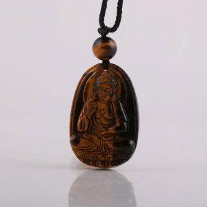 Phật bản mệnh A Di Đà đá mắt hổ nâu MADD2