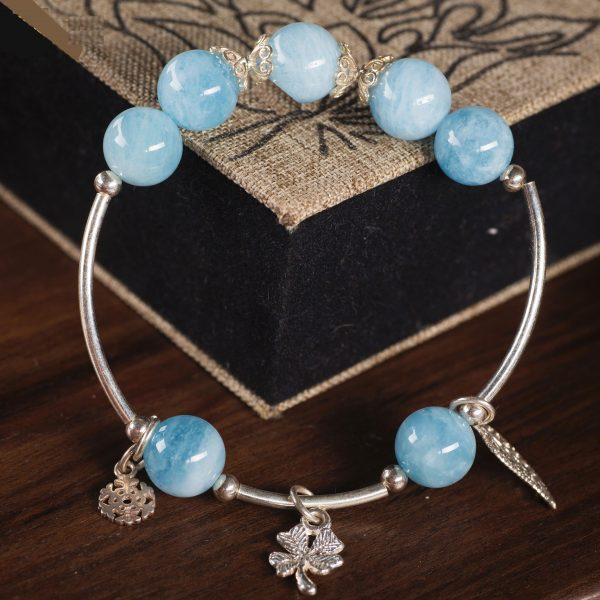 Vòng tay phong thủy đá Aquamarine xanh dương cho nữ VA2