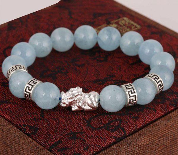 Vòng tay đá Aquamarine màu xanh dương mix tì hưu bạc VA4