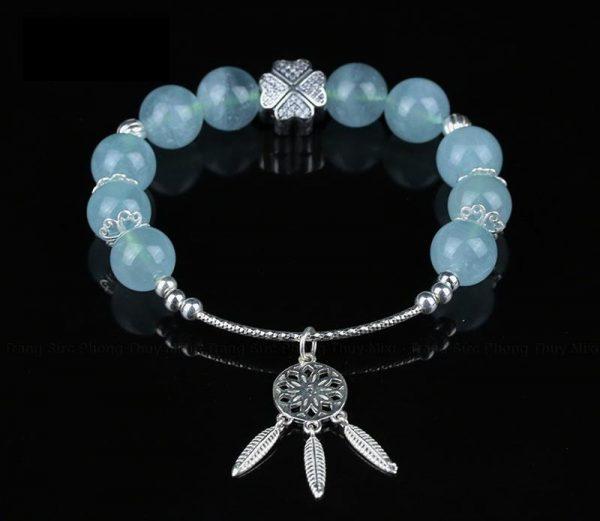 Vòng tay phong thủy đá Aquamarine mix charm bạc cho nữ VA3