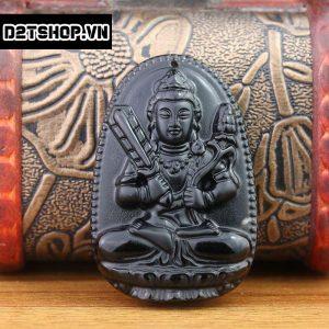 Phật bản mệnh Hư Không Tạng Bồ Tát đá núi lửa Obsidian MHKBT6