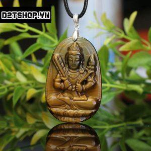 Phật Bản Mệnh Hư Không Tạng Bồ Tát đá mắt hổ nâu vàng bản to MHKBT4