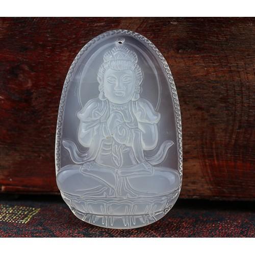 Phật bản Mệnh Như Lai Đại Nhật đá mã não trắng bản to MNLDN2