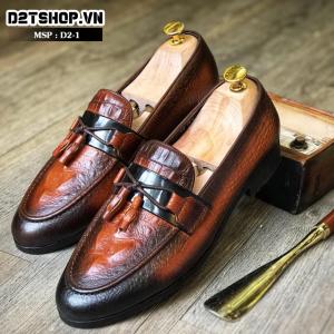Giày lười nam chất liệu da bò đánh màu Patina nâu đen D2-1