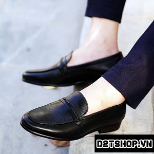 Giày lười nam chất liệu da bò kiểu dáng dây đan đơn giản D1