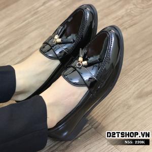 Giày lười nam giá rẻ chất liệu da bóng kết hợp chuông N55