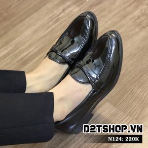 Giày lười nam giá rẻ kiểu dáng da bóng kết hợp dây đan N124