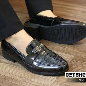 Giày lười nam giá rẻ kiểu dáng da bóng dập vân N56
