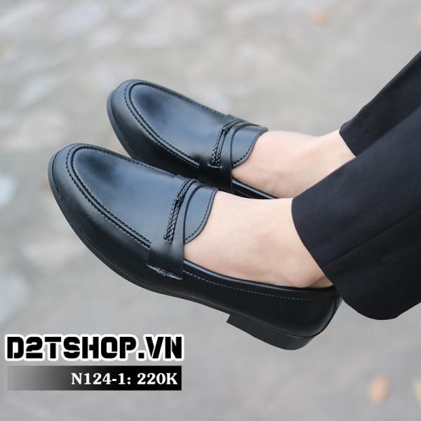 Giày lười nam giá rẻ kiểu dáng da lì kết hợp dây đan N124-1