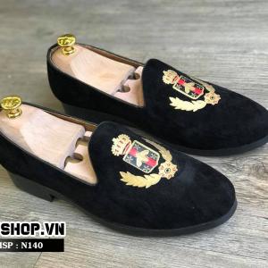 Giày lười nam giá rẻ kiểu dáng nhung thêu bông lúa N140