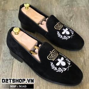 Giày lười nam giá rẻ kiểu dáng nhung thêu ong trắng N143