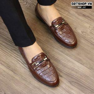 Giày lười nam da bò dập vân ô vuông màu nâu D7