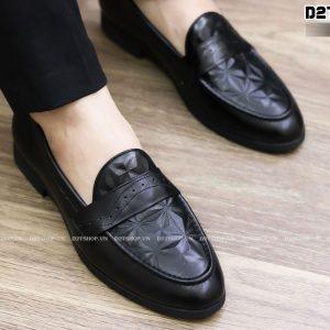 Giày lười nam da bò dập vân đơn giản D8-1