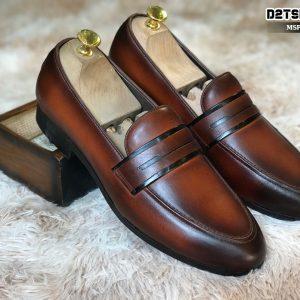 Giày lười nam da bò đánh Patina màu nâu D4-1