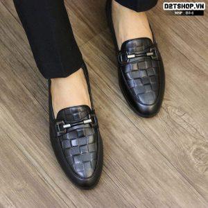 Giày lười nam da bò dập vân vuông màu đen D7-1
