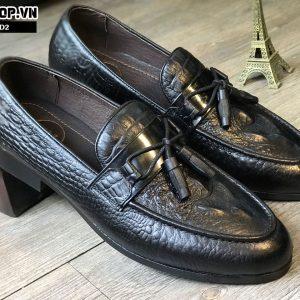 Giày lười nam da bò dập vân cá sấu kết hợp chuông màu đen D2