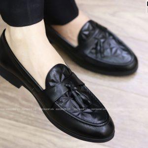 Giày lười nam da bóng dập vân kết hợp chuông D8