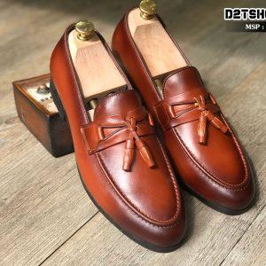 Giày lười nam da bò mềm màu nâu kết hợp chuông D13-1