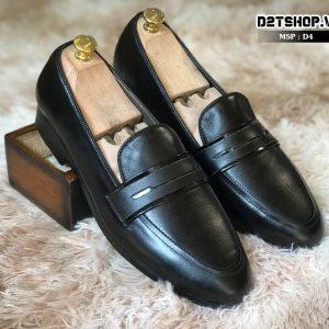 Giày lười nam chất liệu da bò nhập ngoại cao cấp màu đen D4
