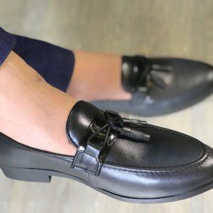 Giày lười nam da bò trơn kết hợp chuông màu đen D13