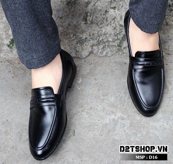 Giày lười nam da bò hợp với dân công sở D16