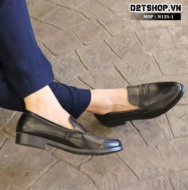 Giày lười nam giá rẻ kiểu dáng da lì đai khoét N125-1