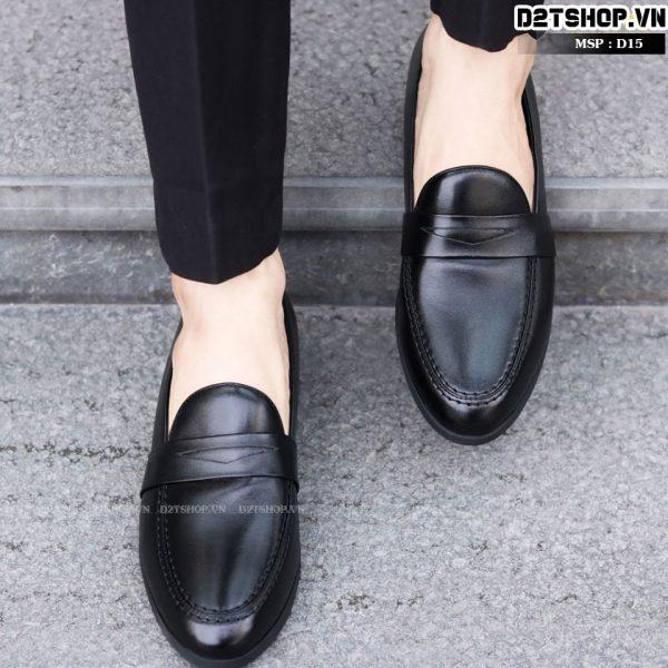 Giày nam da bò kiểu dáng trơn khoét lỗ D15