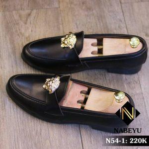 Giày lười nam giá rẻ chất liệu da lì kết hợp mặt versace N54-1
