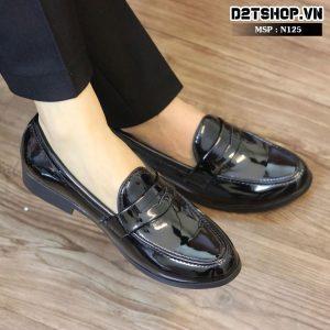 Giày lười nam giá rẻ chất liệu da bóng khoét lỗ N125