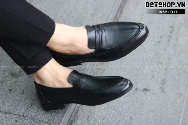Giày da bò nam kiểu dáng trơn lì khoét lỗ màu đen D17